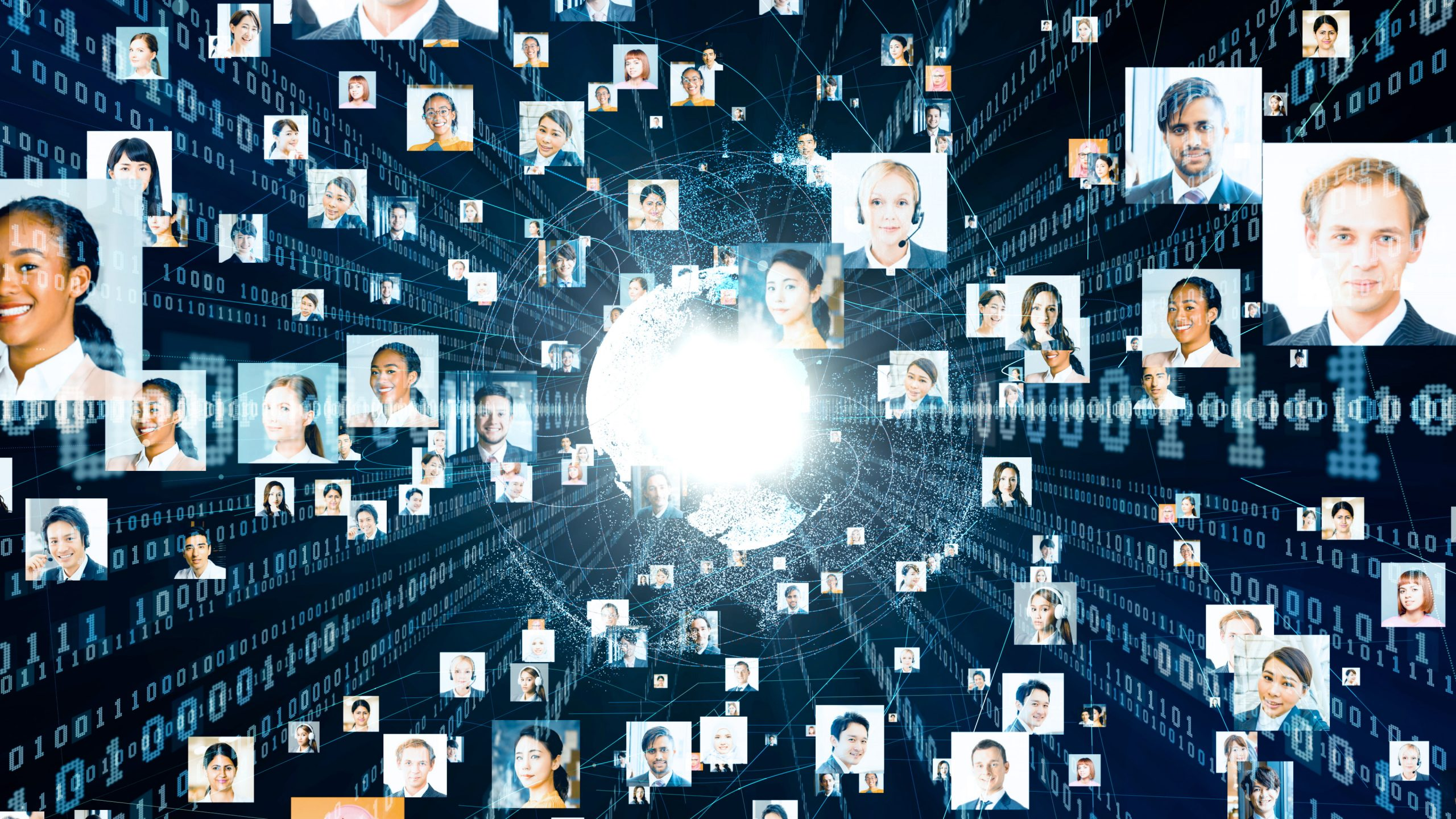 Many pictures of faces connected together in a digital network.